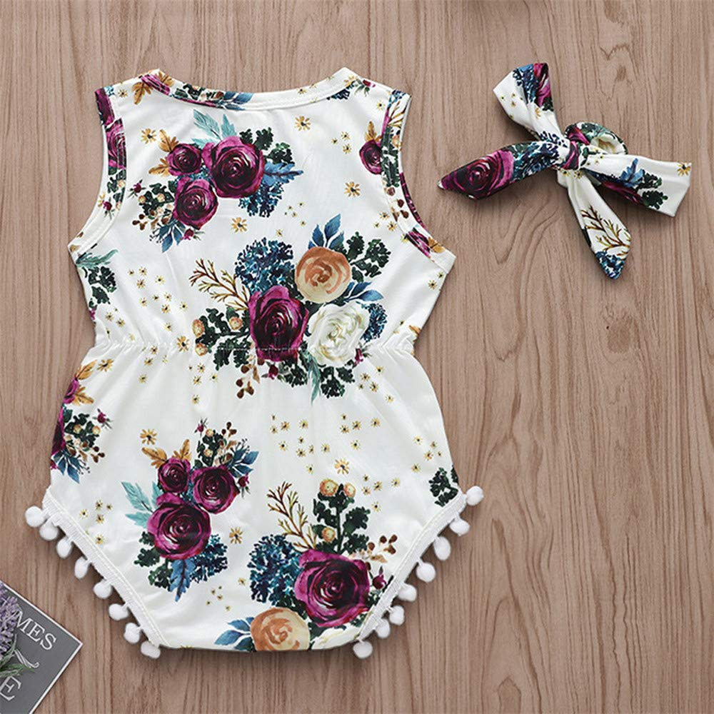 100, White Yaseking Sleeveless Rosette Printed Lace Hairband Jumpsuit Romper Summer Toddler Kid Clothes