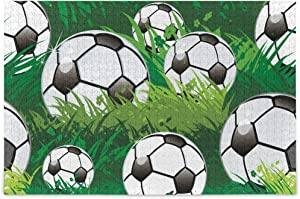 Jigsaw Puzzles 500 Pieces Adults - Soccer Ball Grass Puzzle Funny Difficult Puzzle for Adult and Kids Stay Home Game Wooden Puzzle with Storage Bag