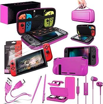 Orzly Ultimate Pack Accesorios para Nintendo Switch [Incluye: Protectores de Pantalla, Cable USB, Funda para Consola, Estuche Tarjetas de Juego, FlexiCase para los mandos JoyCon, Auriculares] – Rosa: Amazon.es: Electrónica