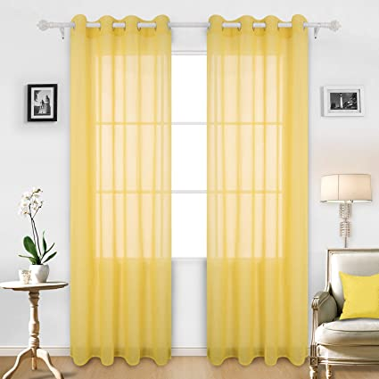 Deconovo Yellow Sheer Curtains 95 Linen Look Grommet Panels For Living Room 52W