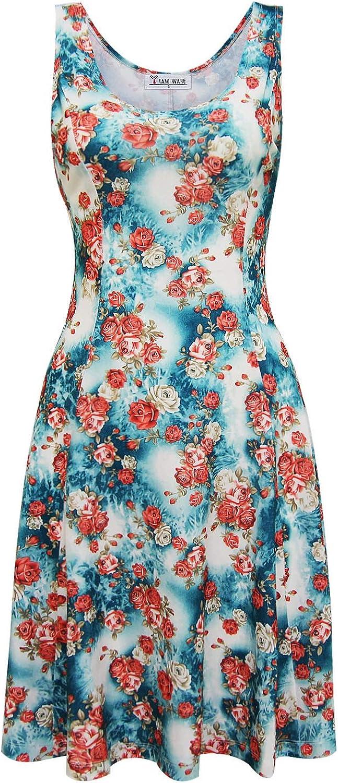 TAM WARE Womens Stylish Floral Sleeveless Round Neck Skater Dress
