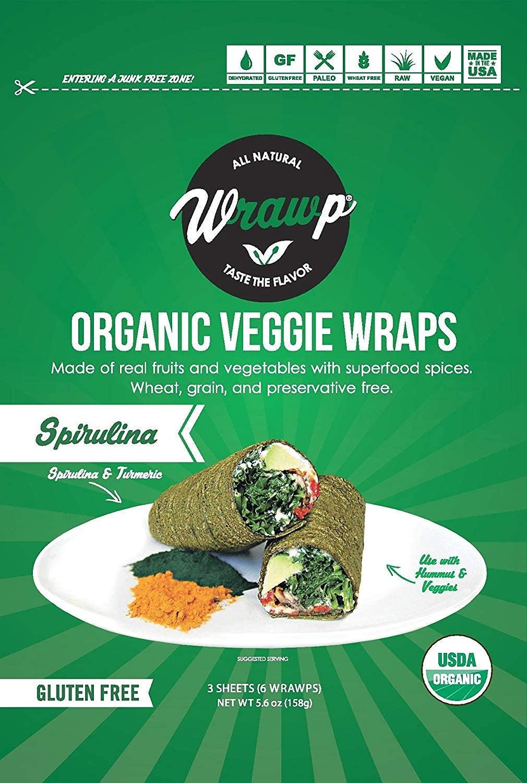 Raw Organic Spirulina Veggie Wraps   Wheat-Free, Gluten Free, Paleo Wraps, Non-GMO, Vegan Friendly Made in the USA (8 Pack)