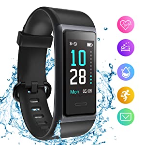 HolyHigh Fitness Band Smart Watch for Men Women Heart Rate Monitor Waterproof Fitness Tracker Sleep Monitor Smart Band Bluetooth Call Whatsapp Notification Step Counter Stop Watch