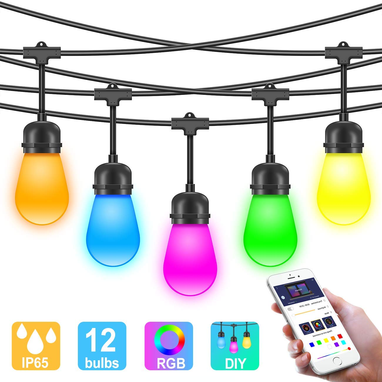 Details about Outdoor Color Changing LED String Lights w/APP, Sync to Music  Dimmable FREE S&H