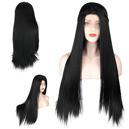 zeroblizzard Pelucas alta densidad sin pegamento Lace Front Peluca luz Yaki Straight sintético peluca con pelo