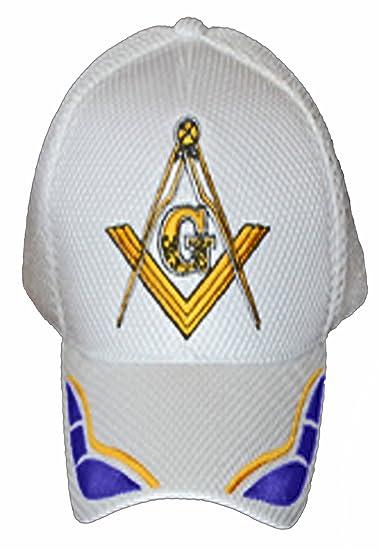 cdb6c3817985c Masonic Baseball Cap Freemason Mason Hat Mens One Size White at Amazon  Men s Clothing store