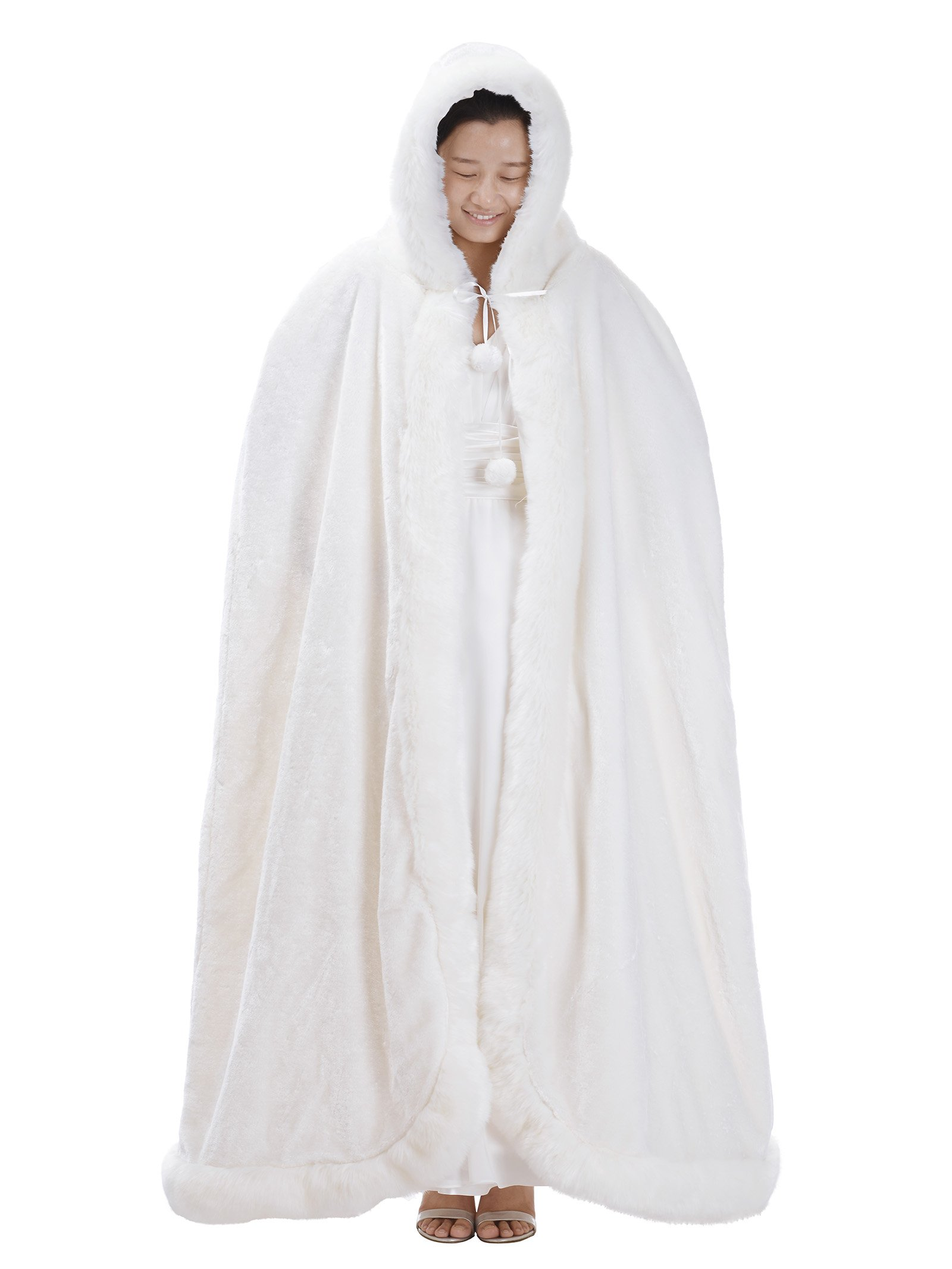 Remedios Ivory Full Length Birdal Wedding Hooded Cape Evening Party Wrap Poncho, S
