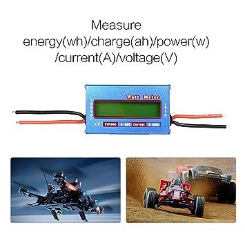 Equilibrio de Voltaje Digital Potencia vatio Corriente de energía Medidor Analizador Probador Comprobador para RC Drone Batería 60V 100A Wattmeter: ...