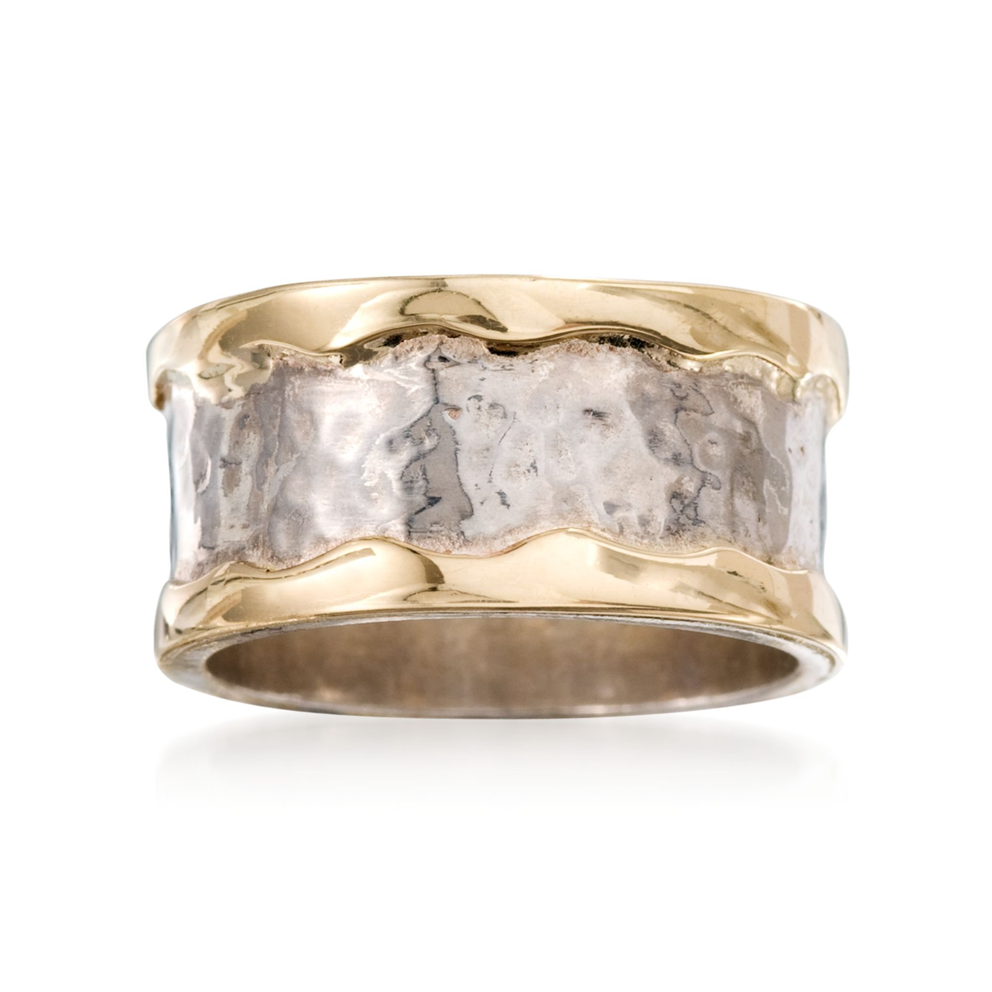 Ross-Simons Sterling Silver and 14kt Yellow Gold Cigar-Band Ring