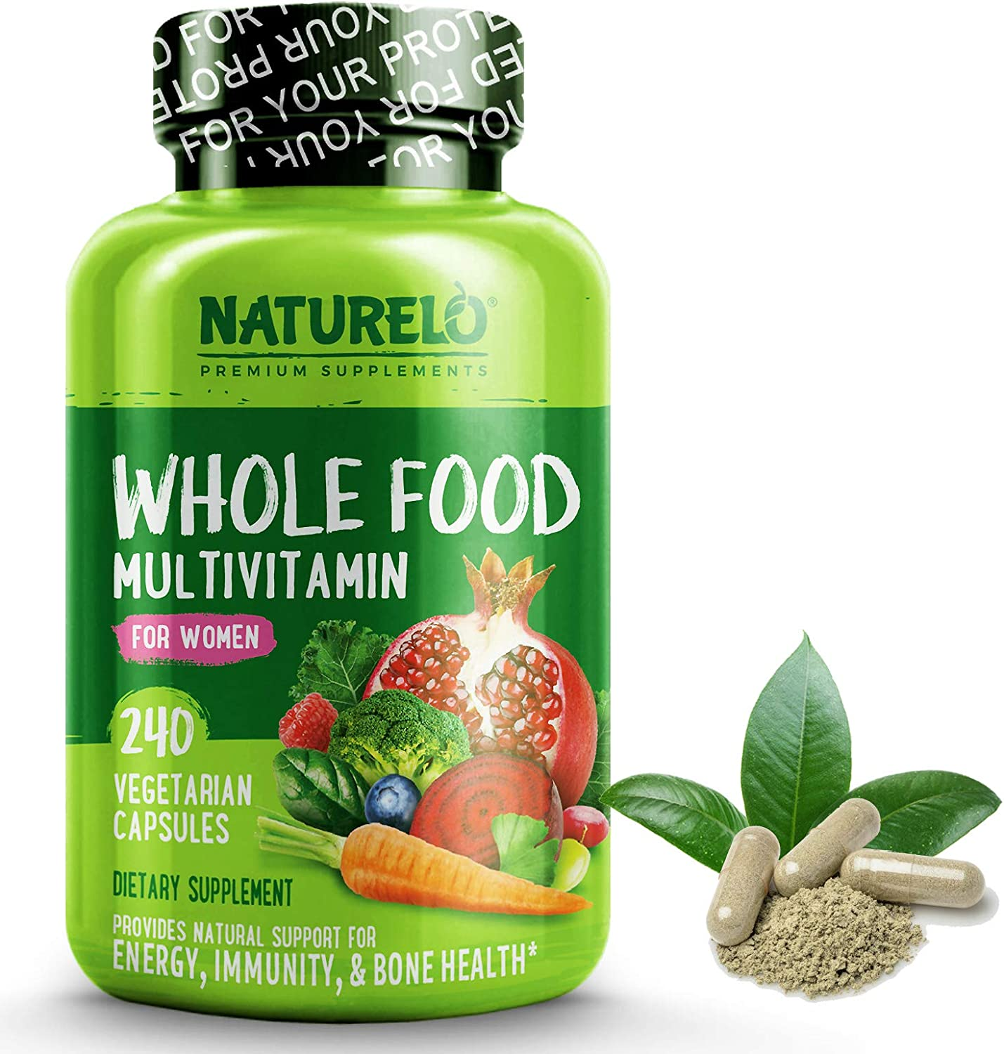 NATURELO Whole Food Multivitamin for Women – Natural Vitamins, Minerals, Raw Organic Extracts – Best Supplement for Energy and Heart Health – Non GMO – 120 Vegan Capsules