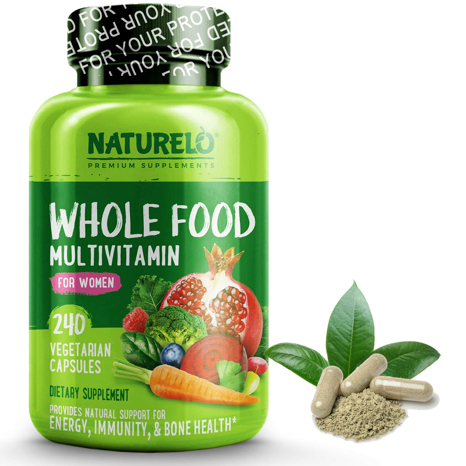 NATURELO Whole Food Multivitamin for Women - Natural Vitamins, Minerals, Raw Organic Extracts - Best Supplement for Energy and Heart Health - Non GMO - 120 Vegan Capsules
