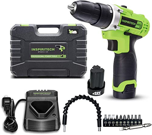 Inspiritech 12V Cordless Drill Driver with 2 Lithium Ion Batteries and Charger,Variable Speed 3 8Inch Keyless Chuck 16 Positions Clutch,Front LED Light,12 Accessories
