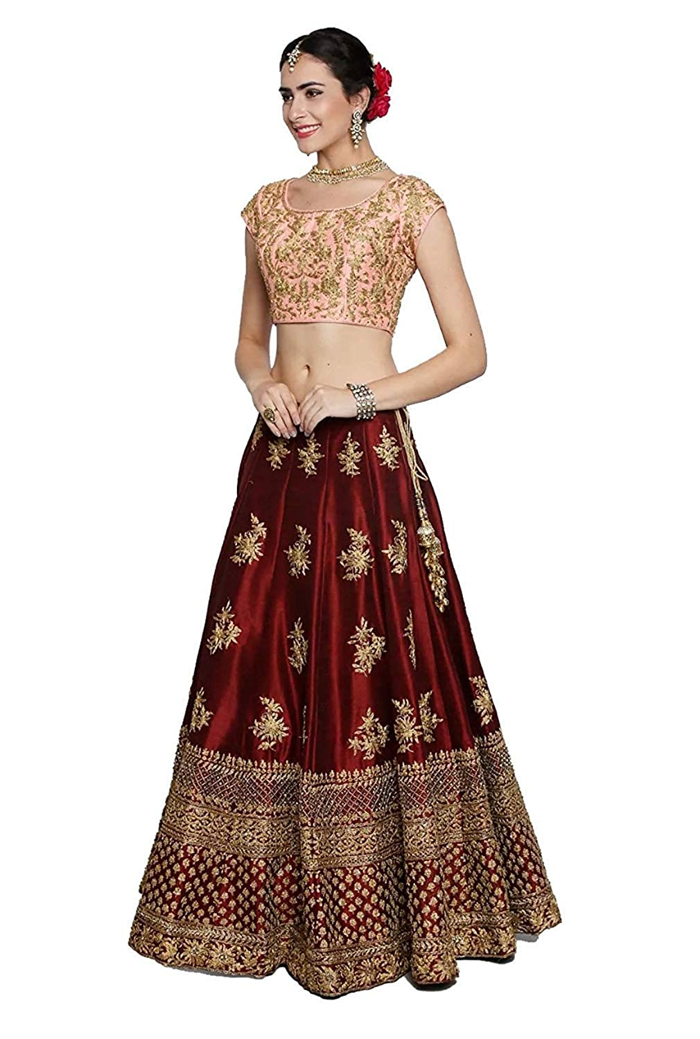 21a3412150 Queen of India Fashion Women's Taffeta Silk Heavy Embroidery Work Lehenga  Choli (Red, Free Size): Amazon.in: Clothing & Accessories
