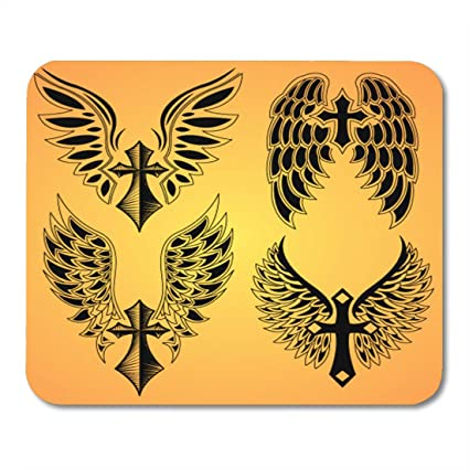 Amazoncom Nakamela Mouse Pads Prayer Gothic Of Cross And Wings