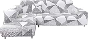 Sectional Couch Covers L Style Sofa Covers 2 Piece Stretch Polyester Fabric Slipcovers with 2Pcs Pillow Covers for Sectional Corner Sofa Furniture Protector (White+Gray, L-Shape 3+3 Seat)