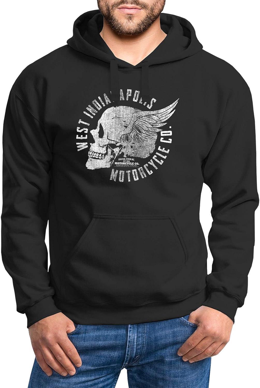 Neverless Hoodie Herren Sweatshirt Motorrad Biker Totenkopf Skull Wings Vintage Kapuzenpullover Skull Wings Schwarz