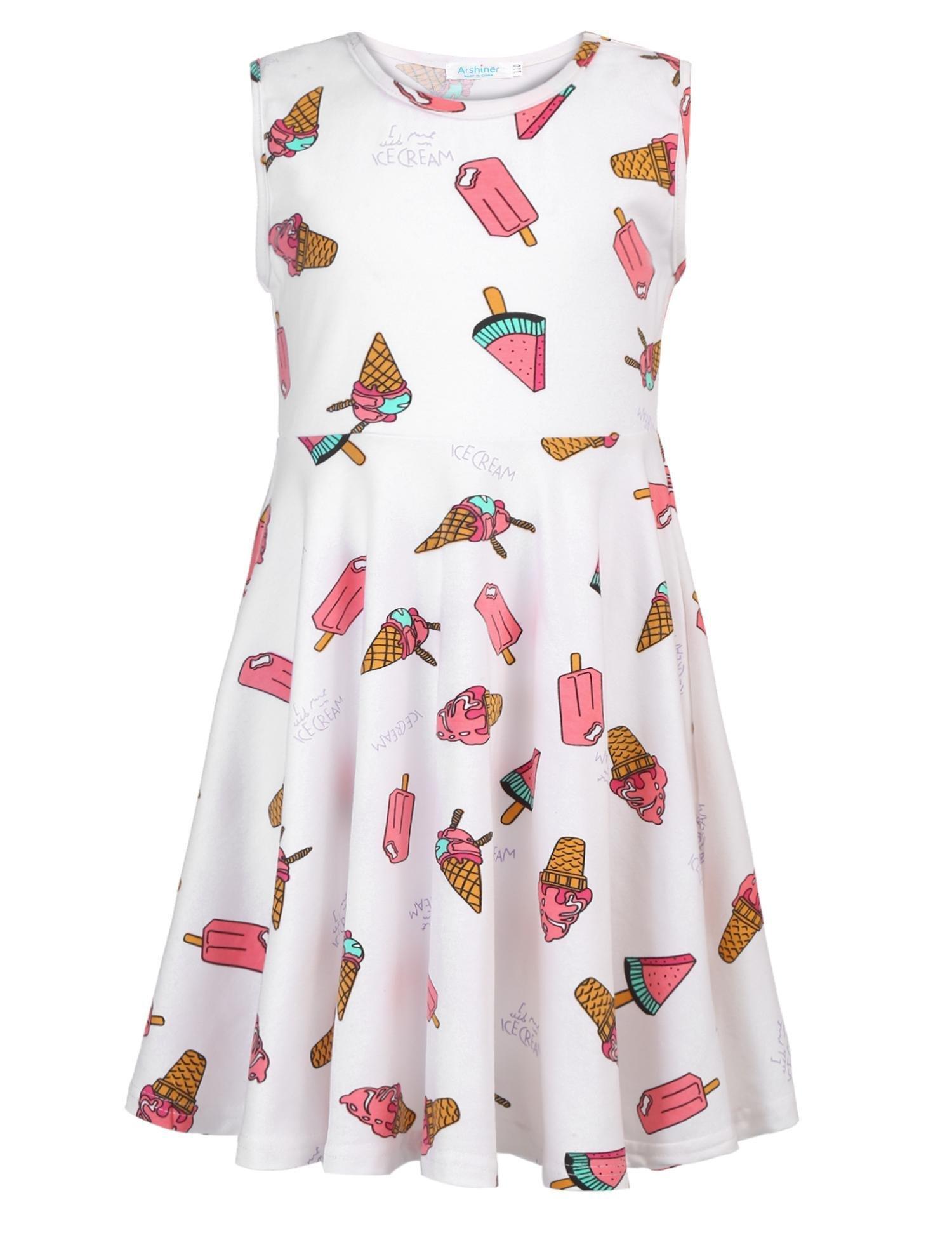 Arshiner Girls Sleeveless Tank Swing A-line High Waist Casual Dress