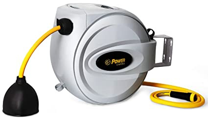 power retractable hose reel 58 x 75 ft super heavy duty - Retractable Garden Hose Reel