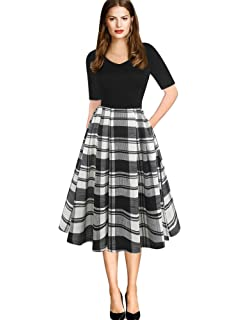 4de15da98 oxiuly Women's Vintage Elegant V-Neck Casual Party Cocktail Swing Work Midi  Dress with Pockets