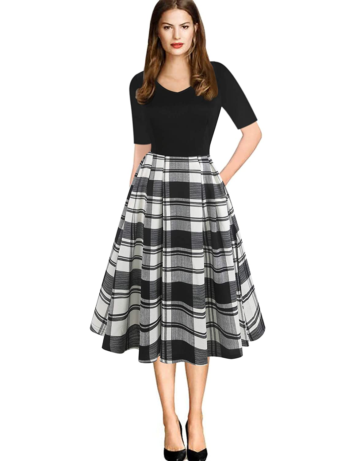 06640c1496752 oxiuly Women's Vintage Plaid Stripe V-Neck Casual Pockets Party Swing Dress  OX295