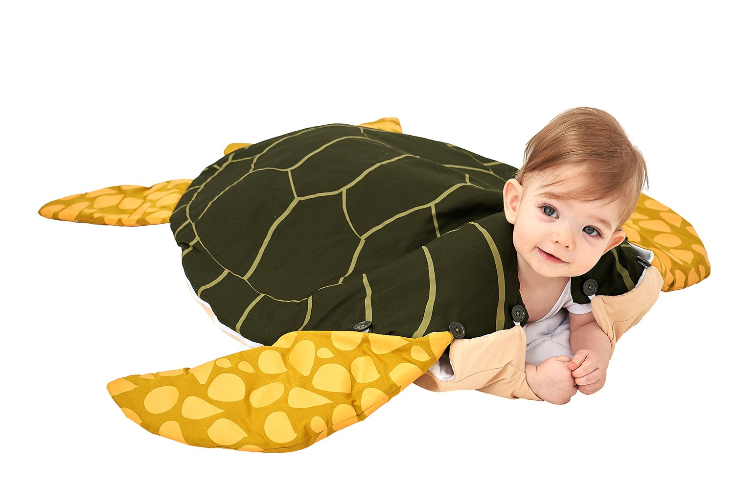 Animal Style Turtle Baby Sleeping Bag and Blanket 100% Cotton Removable Sleeve