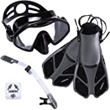 ELEMENTEX Snorkel Set Gear Includes Scuba Mask with Easy-Breath Dry Top Valve – with Improved Tempered Glass On The Snorkeling Mask