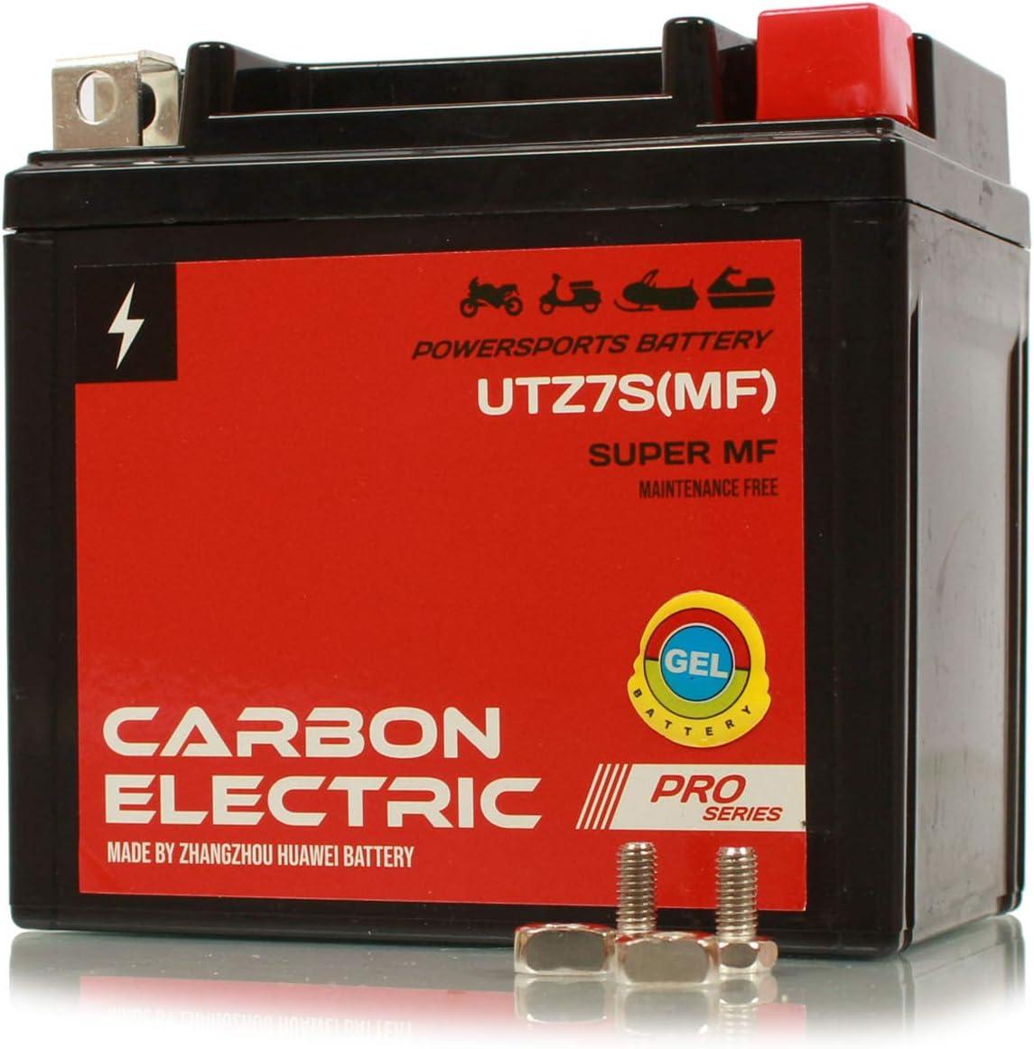 Carbon Electric Gel Batterie Ytz7s Gelbatterie 12v 6ah Wartungsfrei Versiegelt Akkumulator Motorrad Roller Motorradbatterie Rollerbatterie Utz7s Auto