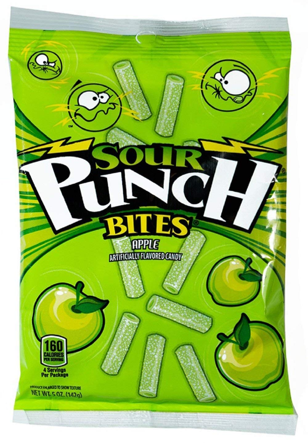 Sour Punch Bites, Sour Apple Fruit Flavored Soft & Chewy Candy, 5oz Bag (12 Pack)