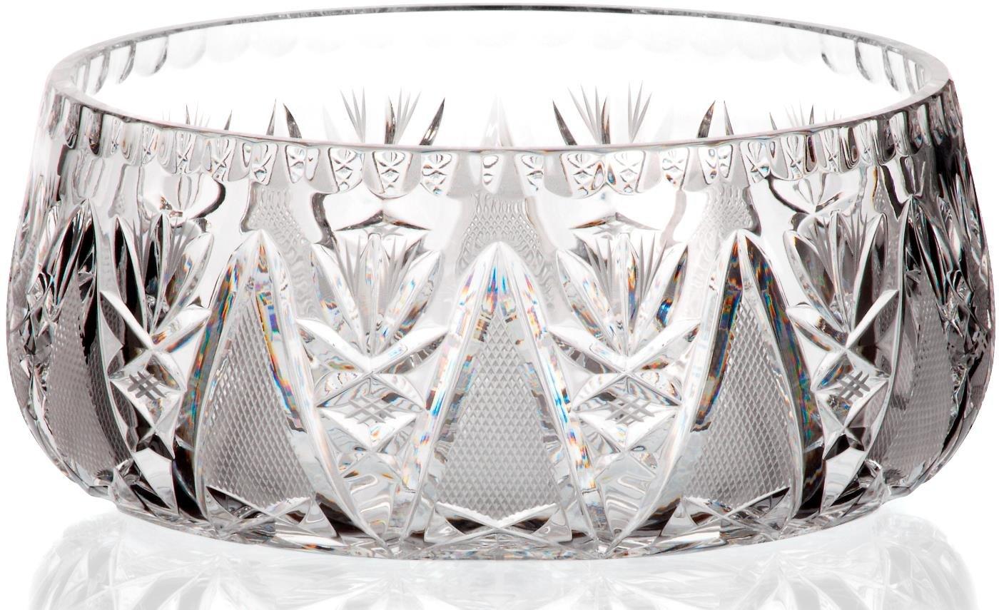 Exclusive bowl, fruit bowl, salad bowl VIRNA, transparent, Ø 21 cm, lead crystal, modern style (GERMAN CRYSTAL powered by CRISTALICA) salad bowl VIRNA Ø 21 cm