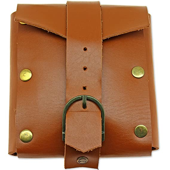 Deluxe Adult Costumes - Large Medieval Renaissance adventurers tan leather belt buckle pouch bag by Swordaxe