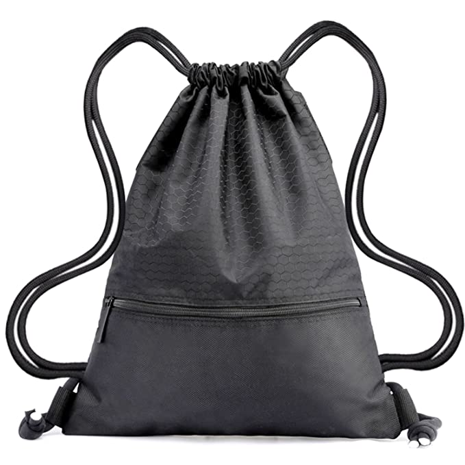 b431bb8d6ca3 Drawstring Backpack Bag String Waterproof Sackpack Black Sport Gym Backpacks  Nylon