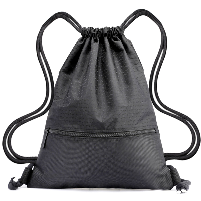 Drawstring Backpack Bag String Waterproof Sackpack Black Sport Gym Backpacks Nylon