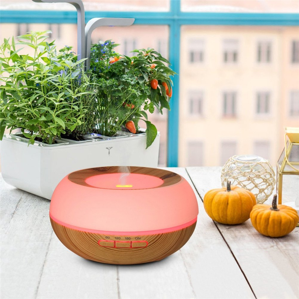 TRADE Yellow Wood Grain Ultrasonic Spray 7 Color Changing Waterless Auto off Perfect Night Companion 300ML Essential Oil Aromatic Air Diffusion Roundness Beauty Humidifier by TRADE® (Image #8)