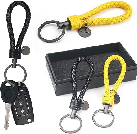 Rainmae 2 Stücke Schlüsselanhänger Aus Leder Mit Ringen Und Geschenkbox Zusatzringe Für Kleine Schlüssel Ideal Für Auto Motorrad Fahrrad Und Haus Schlüssel Koffer Rucksäcke Taschen