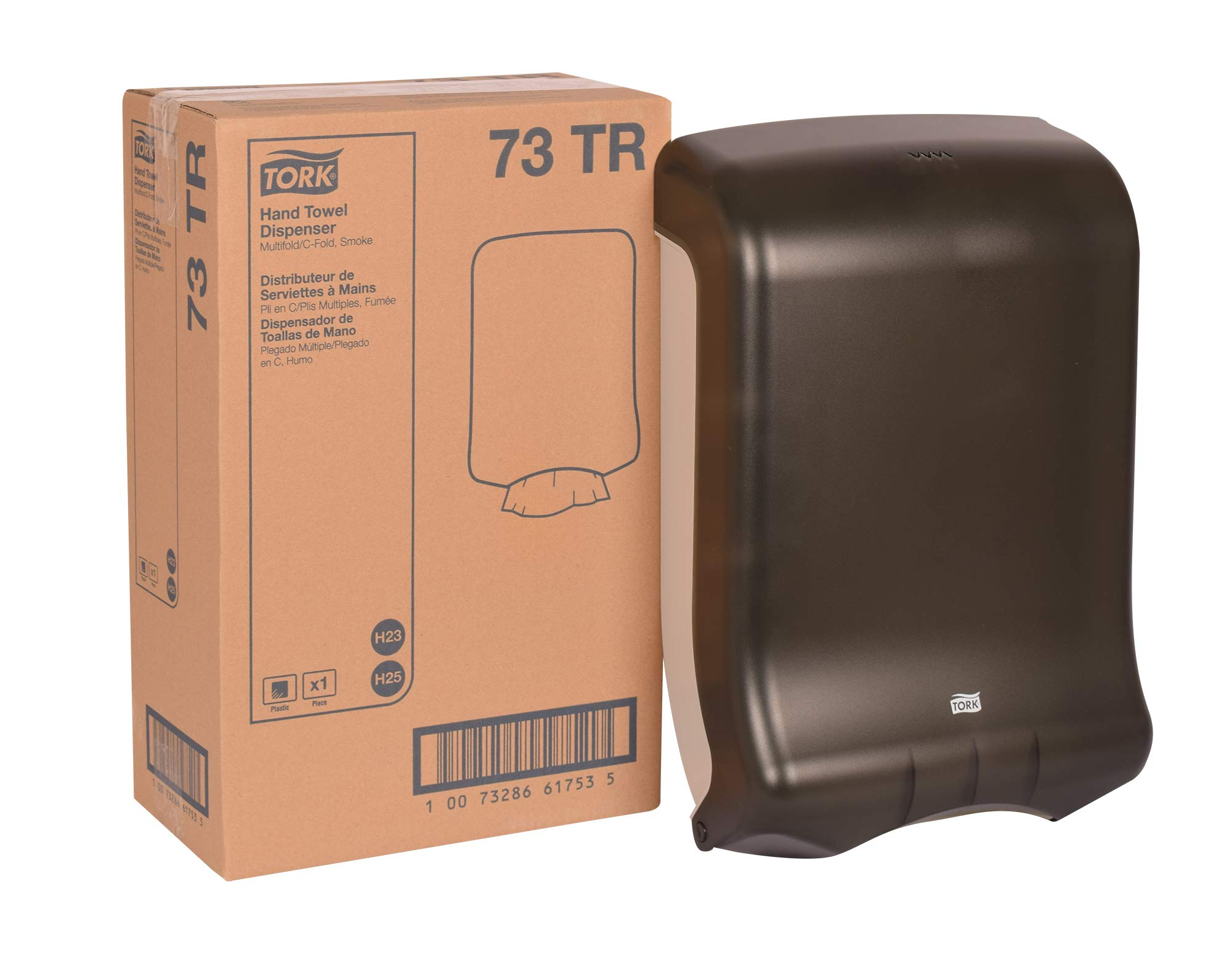 Tork 73TR Multifold and C-Fold Hand Towel Dispenser, Plastic, 18'' Height x 11.75'' Width x 6.25'' Depth, Smoke (Case of 1 Dispenser) For use with Tork CB530, MB550A and MK520A