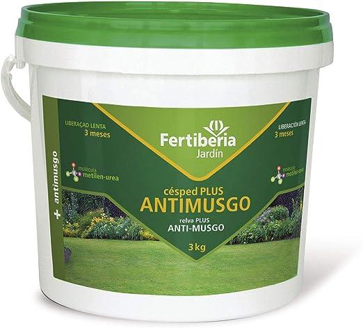 FERTIBERIA JARDÍN Abono de Liberación Lenta para CESPED Plus ANTIMUSGO - Cubo de 3 kg: Amazon.es: Jardín
