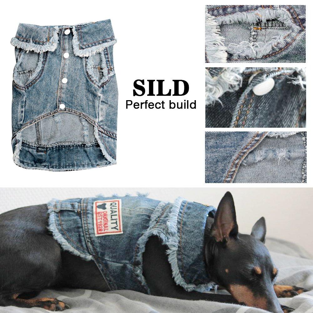 SILD Chaqueta Vaquera para Perro medianos con Capucha XL para Perros peque/ños Color Azul