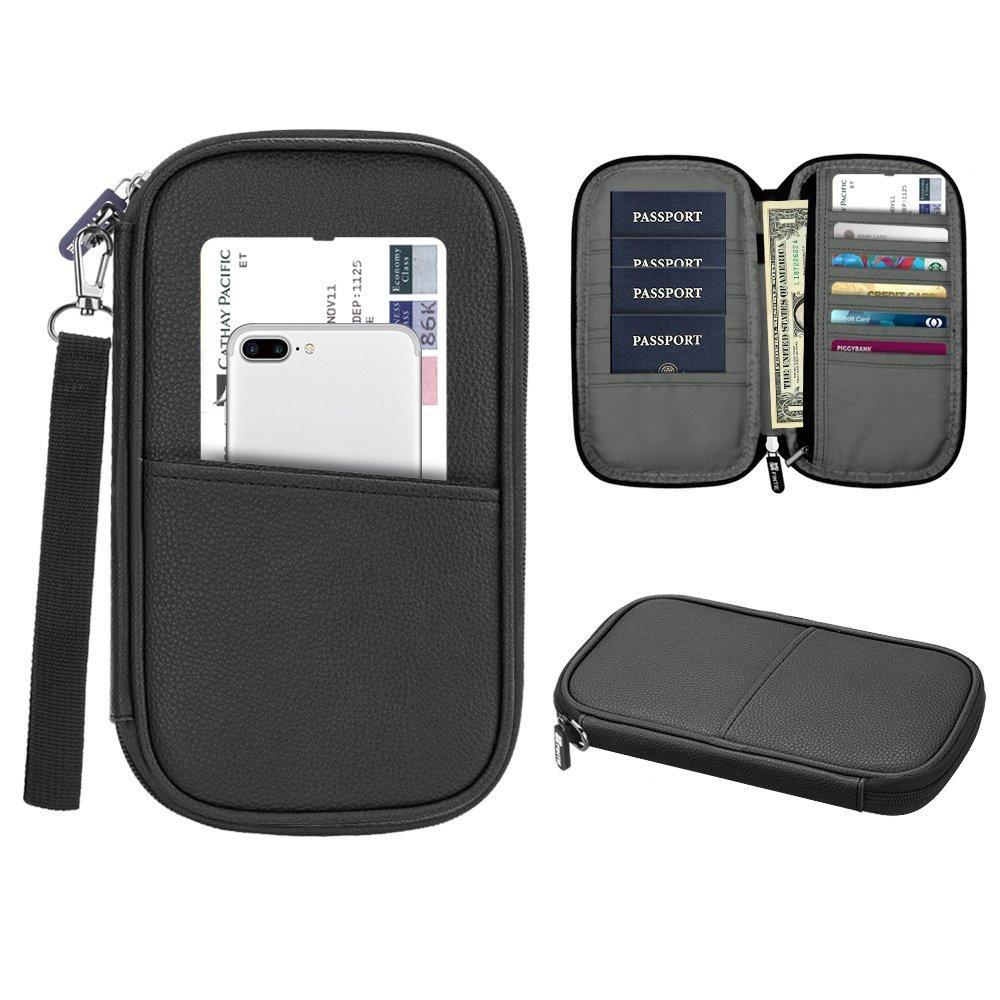 Family Passport Holder, Fintie RFID Blocking Zipper Case Document Organizer (Black)