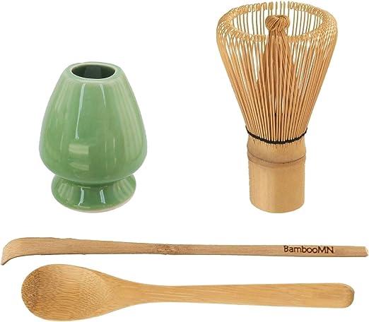 Batidor Chasen con cuchara Chashaku Kit utensilios para t/é Matcha de bamb/ú negro