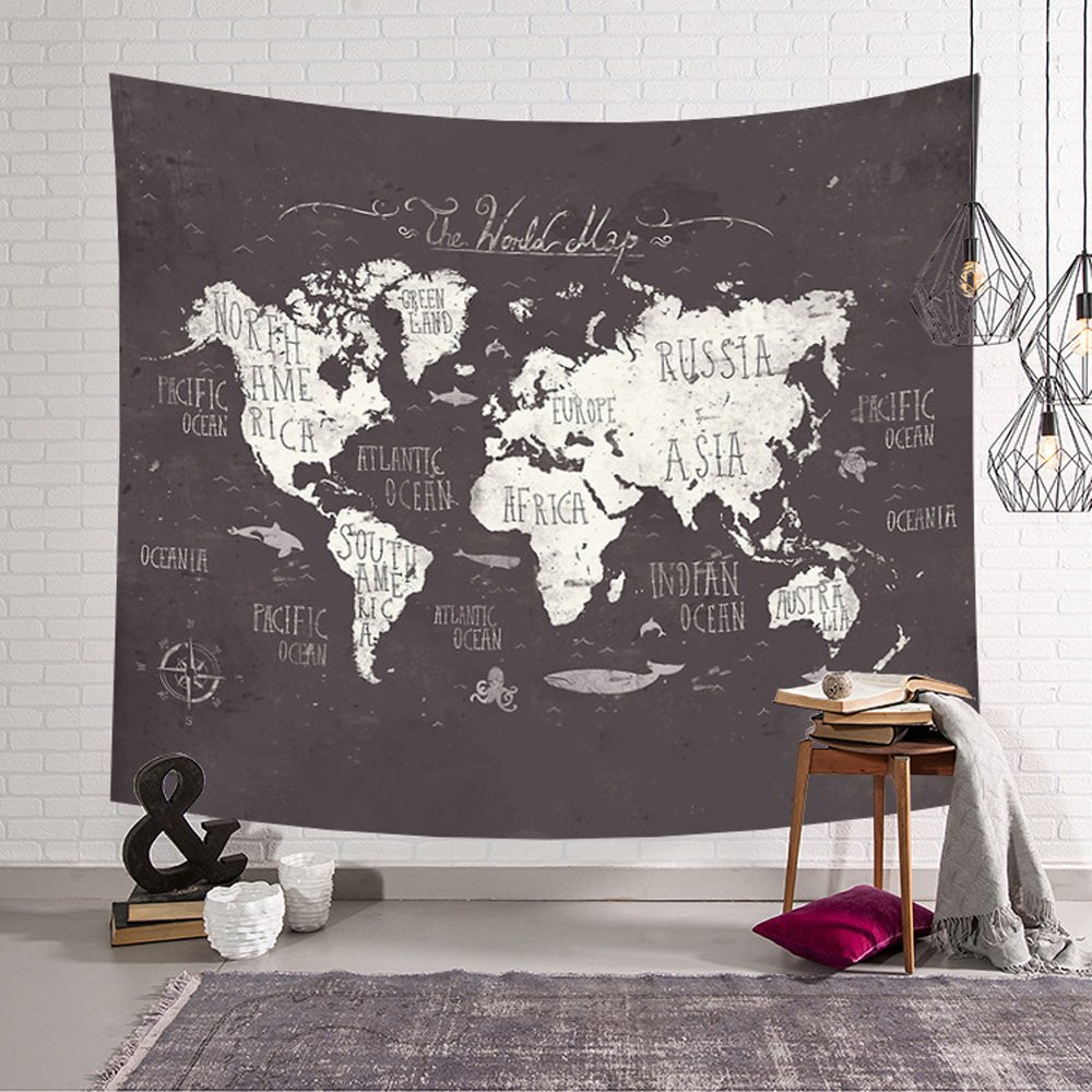 XXGI Arazzo Vintage World Map Arazzo da Appendere A Parete Mandala Indian Tapestries Hippie Print Arazzo Picnic Beach Tovaglia da Spiaggia 150 * 130Cm // 59.06 * 51.18Inch