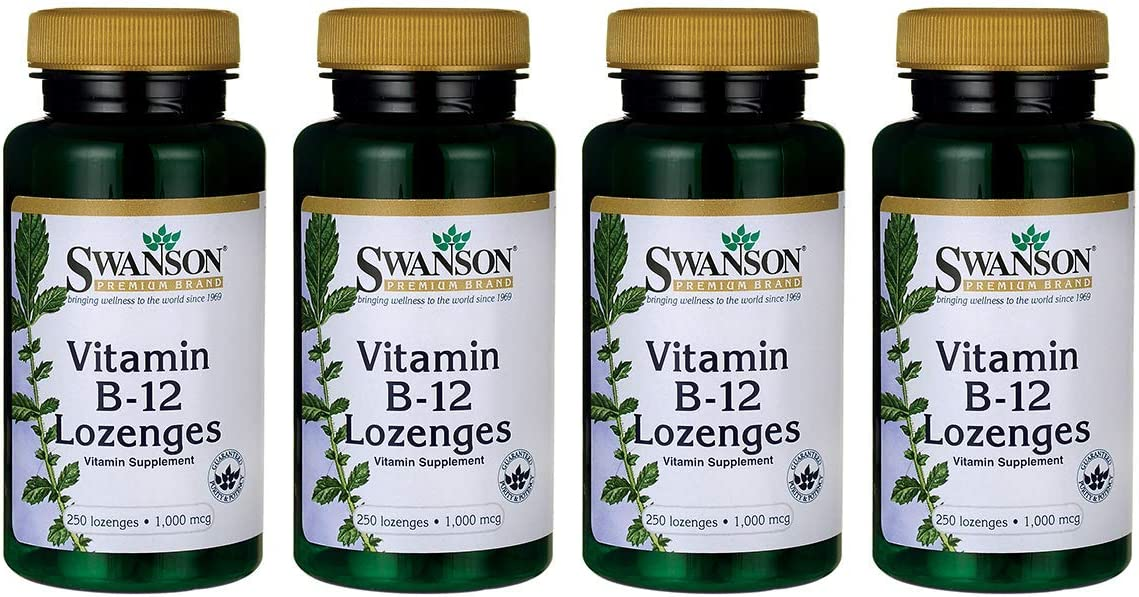 Swanson Vitamin B-12 Lozenges 1000 mcg 250 Lozenges 4 Pack