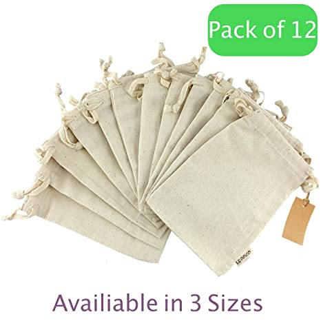f5ac401e60ef 12 Pcs Reusable Produce Bags, Organic Cotton Muslin Produce Storage Bag  with Drawstring - Medium 8x10 Inch - Sachet Canvas Bags, Biodegradable  Fabric ...