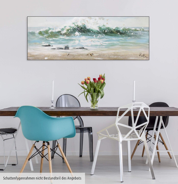 KunstLoft/® Acryl Gem/älde Vamos a la Playa 150x50cm Wandbild Acryl bild moderne Kunst einteilig mit Rahmen Meer Wasser Wellen Blau original handgemalte Leinwand Bilder XXL