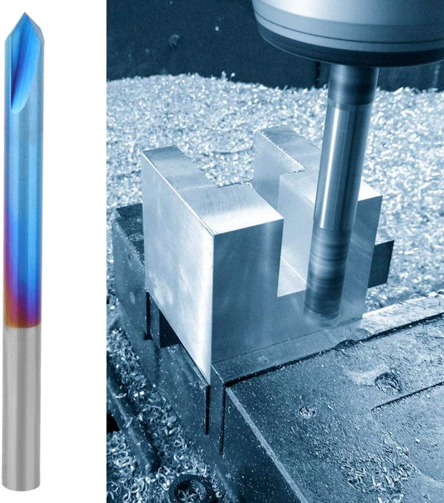Blue Nano Coating Tungsten Steel Cemented Carbide Router Bit 90 Degree 2 Flute Chamfer End Mill Slot Router Bit for Machine Tools and Chamfering Chamfer End Mill 4/×50mm