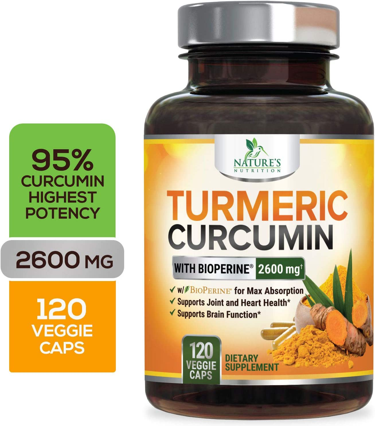Turmeric Curcumin with Bioperine 95% Curcuminoids 2600mg with Black Pepper for Best Absorption, Made in USA, Best Vegan Joint Support, Turmeric Supplement Pills by Natures Nutrition - 120 Capsules