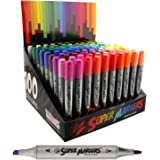 Super Markers Twin-Tip Broad-Liner Marker Set-100 Unique Colors-No Duplicates-Bold Bullet Point & Bold Chisel Tip Markers with 100 Vibrant and Bold Colors - 100% Satisfaction Guarantee