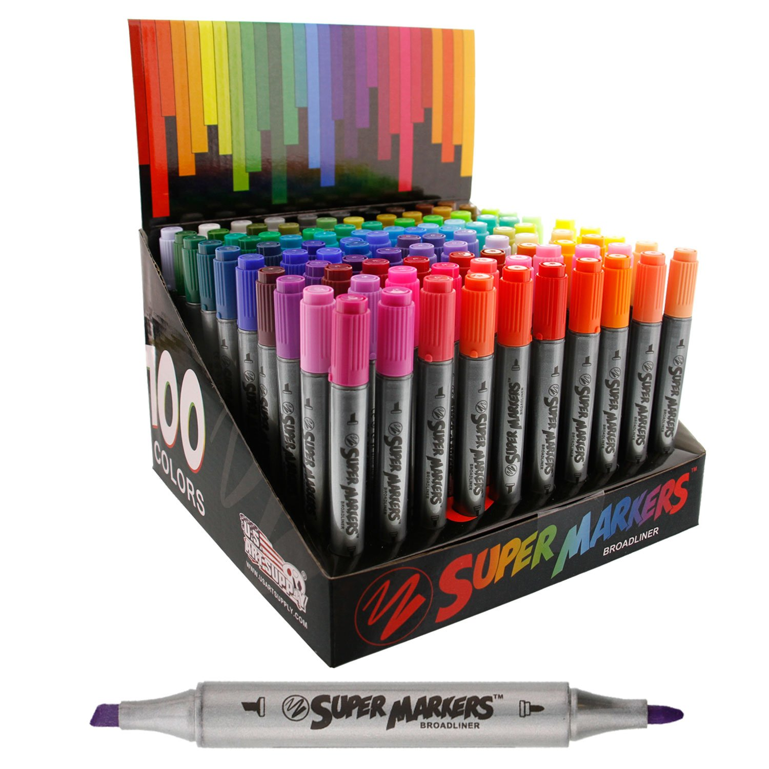 Super Markers Set with 100 Unique Marker Colors - Universal Bullet Point Tips for Fine and Bullet Lines - Bold Vibrant Colors - Includes a Marker Storage Rack - 100% Satisfaction Guarantee US Art Supply SM-891