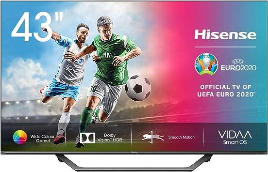 TALLA 43 pulgadas. Hisense 43AE7400F UHD TV 2020 - Smart TV, Resolución 4K, Dolby Vision, Wide Color Gamut, audio DTS Virtual-X, Ultra Dimming, Vidaa U 4.0, 43