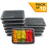 1 Compartment Meal Prep Container [Pack of 10], 22x15x5 cm, 28oz - FDA, BPA-Free, Reusable Food Storage Containers with Lid - Portion Control Lunch Bento Box – Microwave & Dishwasher Safe, Stackable