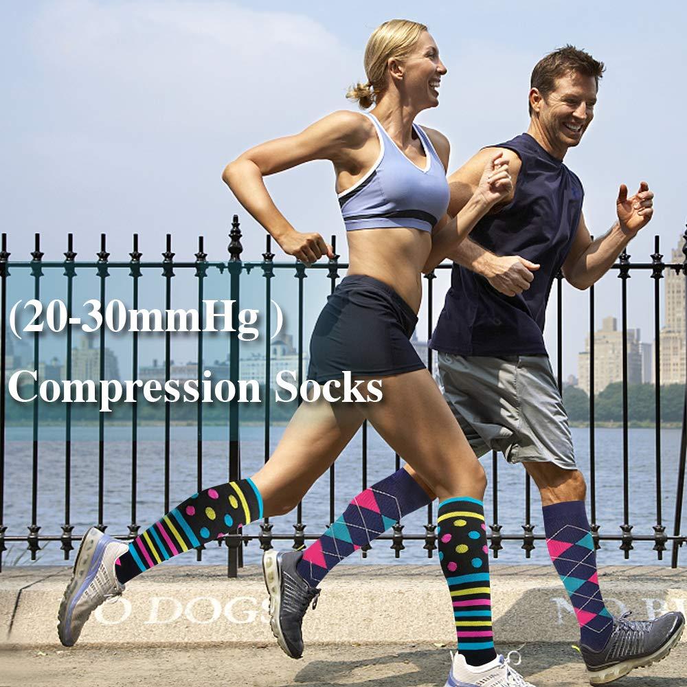 tama/ño L//XL color Set6 Ease Leap Medias de compresi/ón para mujer Compresi/ón Medias Hombre Deportes Calcetines de compresi/ón antitrombosis Viajar En Avi/ón